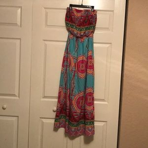 Floral strapless long dress sizeS